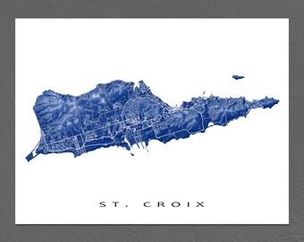 St Croix Map Art Print, US Virgin Islands, Caribbean Island Street Maps