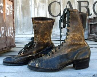 Vintage 1900s Edwardian Shoes  / Antique Womens Edwardian Lace Up Boots / Vintage High Top Granny Boots / Knotts Berry Farm Auction Shoe Lot