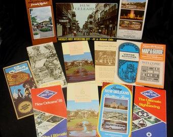 Vintage new orleans brochure lot -old new orleans travel brochures-vintage french market-bus tour pamphlet-bourbon street-historic lot