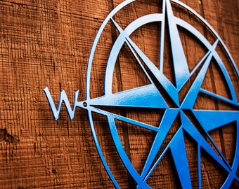 "Nautical Compass Rose Metal Sign - 15"" - Home Decor - Wall Art - Outdoor/Indoor - Durable, Powdercoated"