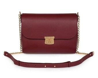 Leather Crossbody Bag, Marsala Leather Shoulder Bag, Women's Leather Cross body Bag, Leather bag KF-341
