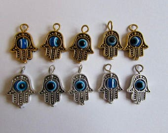 Hamsa Hand Charms Mixed Spacer Beads Jewellery Making Protection Charm Hand Charm Gold Silver Tone Evil Eye 1 5 10 50 100 Charm options CH3