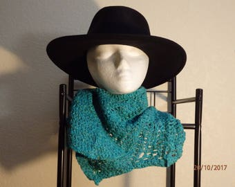 Teal Crocheted Silky Non-Wool Cowl