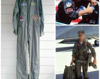 Top Gun Jumpsuit - 1986 Flight Suit - Halloween Aviator Costume - Tomcat - Maverick - Very Good Vintage Condition - Mens Size Large