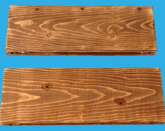 """recliamed pine wood floating shelf 20"""" by 7-1/4"""" by 1-1/2"""" special walnut stain , distressed-686"""