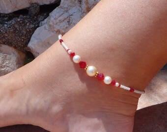 Anklet, ankle bracelet, Swarovski Siam Anklet, Swarovski Pearl Ankle bracelet, Crystal Beach Anklet