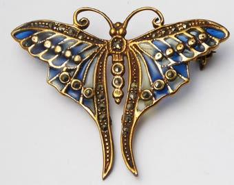 Vintage Nouveau Style Plique-à-jour Butterfly Brooch