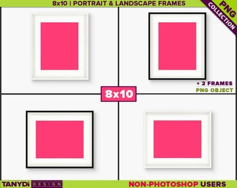 8x10 White Wide Frame | Black board | 4 PNG White Wall Scenes 810-CW7 | Portrait Landscape | PNG frames