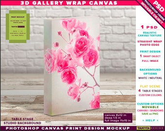 8x12 Gallery Wrap Canvas 1.5in Deep | Photoshop Print Mockup Photo Edge | Portrait Photo Canvas on Table | Smart object Custom colors