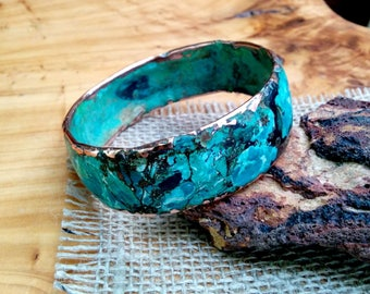 Marbled Copper Bangle.  3.5 X 24 mm Thick and Wide.  Molten Copper Core.