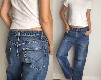 Vintage Levis 505 Jeans- High Waist, Medium Wash Boyfriend Zip Fly Jeans 31 x 27 Crop