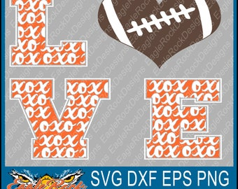 X's and O's| Love Football| SVG| DXF| EPS| Cut File| Football| Mom| Sister| Vector File| Decal| Digital Download