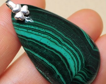 "Natural Malachite sterling silver 1-5/8"" pendant (#J1619)"