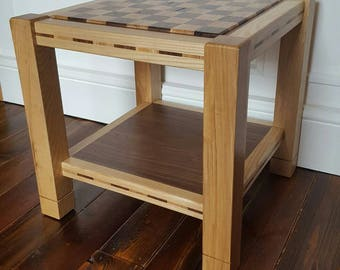 Solid ash & walnut chess/coffee table with shelf