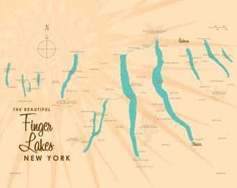 Finger Lakes, NY Map - Canvas Print