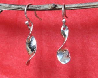 Delicate Flowery Spiral Twists of Silver - Drop Earrings