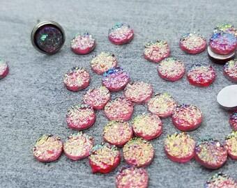 ab pink 6mm titanium faux druzy Cabochons 10pcs