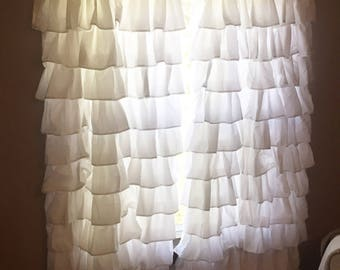 White Ruffled Curtain- window treadment- farmhouse styl