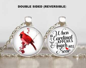 When a Cardinal Appears Your Loved Ones are Near Angels Double Sided Two Sides Reversible Red Bird Print Necklace Jewelry Gracie V Jewelry