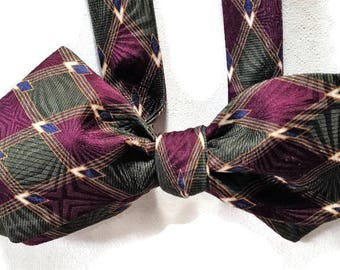 Silk Bow Tie  for Men - Panache  - One-of-a-Kind, Handcrafted - Self-tie - Free Shipping