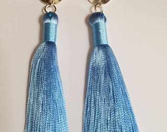 Tassel Earrings with Silver Disk