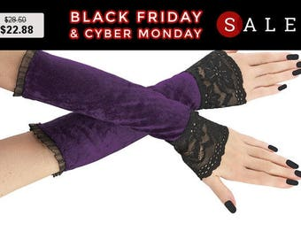 Fingerless gloves, arm warmers purple and black long gloves, burlesque, vintage style, goth lace bridal gloves, womens evening gloves 8P