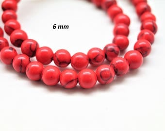 Lot of 20 round beads 6 mm red turquoise
