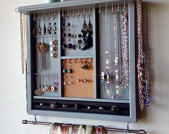 Jewelry organizer. MARINE blue earrings display. necklace holder. display with shelf. wooden wall mounted jewelry storage. MULTIPLE COLORS.