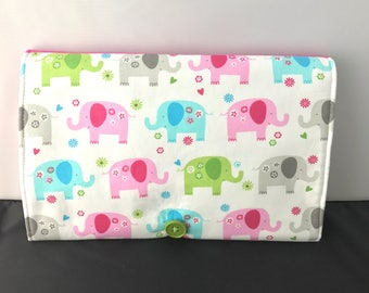 Travel Changing Pad, Diaper Clutch, Personalized, Elephant, Baby Girl Diaper bag, Baby Changing Pad, Portable Diaper Changing Pad