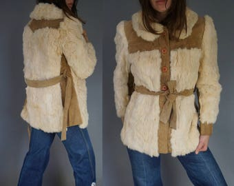 1970s Boho Fur Jacket    Cream White Tan    Plush Soft Warm    Small    FREE SHIP in USA