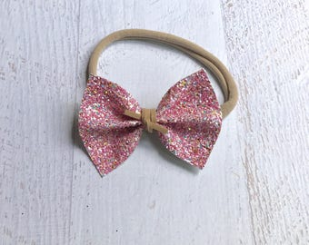Birthday Cake Glitter Bow Headband Clip