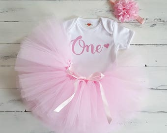 1st Birthday tutu one baby pink personalised white flower headband set photo prop cake smash
