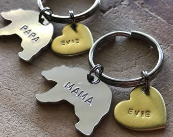 Custom bear keychain Mama bear keychain papa bear keychain his and hers keychain new parent gift mom keychain dad keychain mom gift dad gift