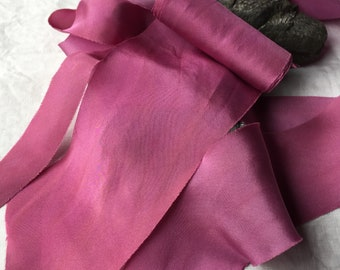 FUCHSIA hand dyed silk habotai ribbon//eco dyed//wedding ribbon//styling ribbon//photo prop//pure silk ribbon//pink//cerise//purple//magenta