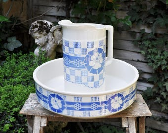 Vintage Washing Set / French pitcher and wash basin /blue ceramic DIGOIN SARREGUEMINES pattern ANDROMAQUE / bathroom decor / French Brocante