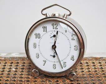 Alarm Clock Vintage Mechanical Chromed metal 1970's JAZ / Vintage Gift / Collectible