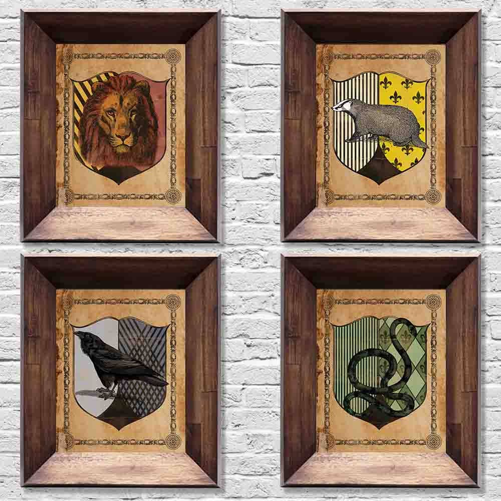 harry potter wizarding school house crests all four houses. Black Bedroom Furniture Sets. Home Design Ideas