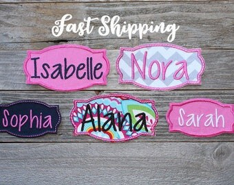 """Iron-on Name Patch Applique, 3.75"""" or 4.75"""", Backpack Name Patch, Lunch Bag Name Patch ***Ready to Ship in 1-3 Days!"""