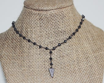 Pavé Gunmetal Arrow Necklace