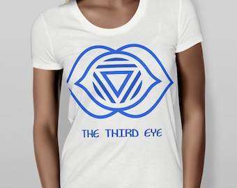 Third Eye Chakra Fitted White/Blue Shirt, Ladies Fitted Tee, Cute Graphic Tee, Metaphysical Shirt, Screen Printed Ladies Fitted T-Shirt