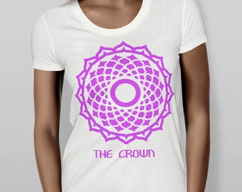 Crown Chakra Cute Trendy Fitted Shirt, Short Sleeve Fitted Tee, Cute Graphic Tee, Metaphysical Shirt, Purple Ladies Shirt, Screen Printed