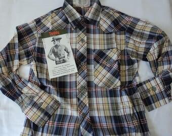 French vintage boy's western style plaid shirt size 28 (05399)