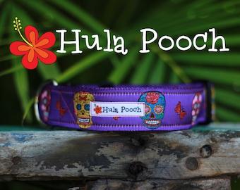 "Halloween Dog Collar ""Candy Skulls Purple"" - Medium, Large, Wide Adjustable // FREE SHIPPING"