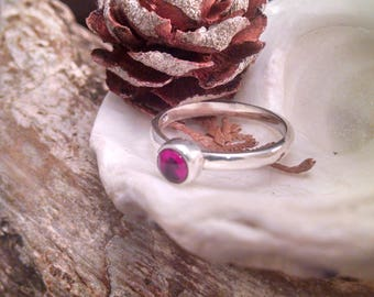Ruby Sterling Silver Ring 5mm