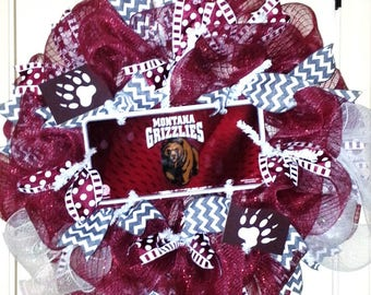 Montana Grizzlies Wreath, Montana door hanger, football wreath, team spirit wreath, collegiate wreath