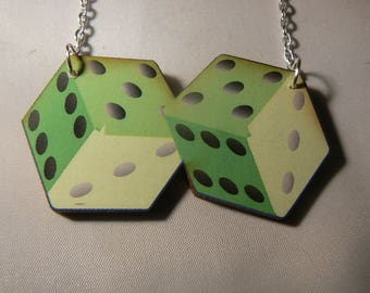 rockabilly punk dice necklace goth emo lucky gaming green