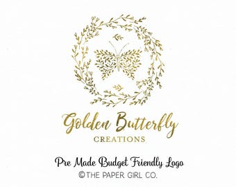 butterfly logo photography logo gold foil logo premade logo event planner logo wedding logo pre made logo budget logo boutique logo design