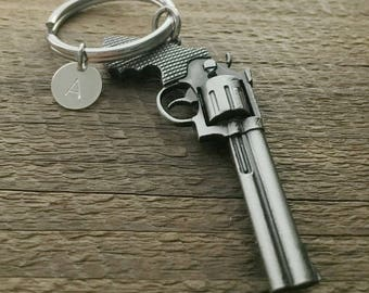 Pistol Gun keychain, Gun key ring, initial keychain, boyfriend, husband, dad, brother gift, custom keychain, personalized keyring, mens gift
