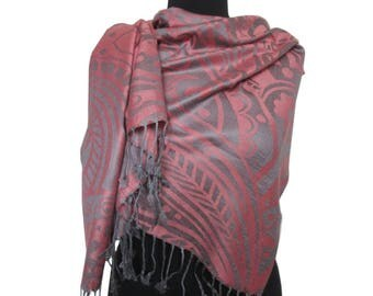 Coral Gray Scarf, Abstract Shawl, Christmas Gifts for Women, Pashmina Scarf, Fashion Boho Shawl, Long Scarf, Gift for Girlfriend