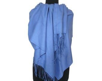Blue Scarf, Christmas Gifts for Women, Pashmina Scarf, Fashion Shawl, Blue Long Pashmina, Gift for Girlfriend, Plain Pashmina, Fall Scarf